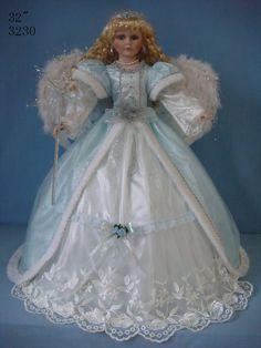 Pink Umbrella Bottom Angel Porcelain Doll