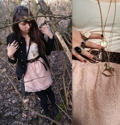 Outfit #white #top #brown #waist #belt #peach #floral #skirt #black #army #jacket #gold #necklaces #tights #boots #beautiful