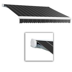 AWNTECH 14 ft. Key West Full-Cassette Manual Retractable Awning (120 in. Projection) in Gun Pin, Gray