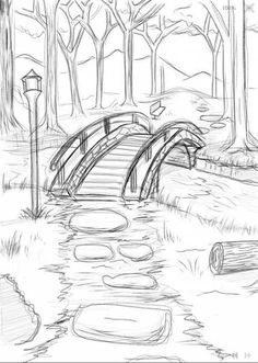 bridge_over_he_river_wip ___ × - Zeichnung ideen bleistift - Drawing Cool Art Drawings, Pencil Art Drawings, Easy Drawings, Drawing Sketches, Drawing Tips, Easy Nature Drawings, Drawing Drawing, Pencil Drawing Tutorials, Pencil Sketches Simple