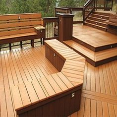 Love this easy to maintain #deck with #bench feature made from #composite decking.  Timbertech.com carries composite decking materials to recreate this design!