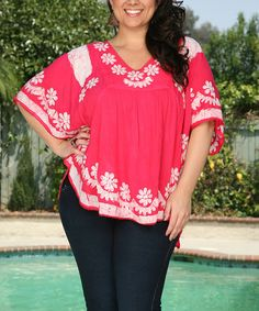 Loving this Pink & White Floral Embroidered Hi-Low Tunic - Plus on #zulily! #zulilyfinds