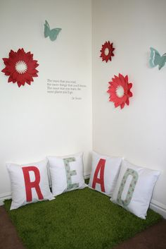 These 3d flowers and butterflies are a fun little addition to the reading corner!  Like vinyl shapes they can easily be removed when moving or changing your decor.