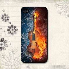 Flaming Violin printed iphone casehandmade custom by Casealicious, $13.80