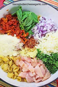 Sun dried tomatoes, spinach, chicken, pasta, onions, cheeses...ONE POT WONDER.