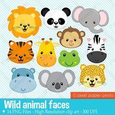Wild Animal Faces Animal clipart Clip art by pixelpaperprints
