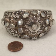 Antique Sterling Silver Moonstone Bracelet Cuff