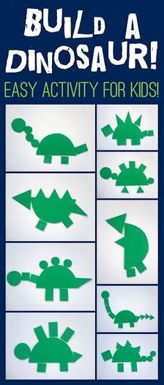 Build a dinosaur shape game. Simple preschool activity for dinosaur fans!