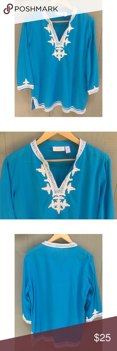"Chico's Aqua with Sequin Accents Tunic (m) Excellent condition. Aqua color with white trim and sequin accents. Chico's size 2 fits like medium. 100% cotton. Measures laying flat pit to pit 22"". Length 28"". Chico's Tops Tunics"