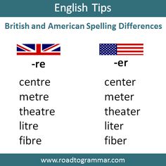 British and American Spelling Differences English Spelling, Learn English Grammar, English Phrases, English Language Arts, English Words, Teaching English, English Vinglish, British English, English Tips