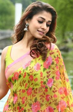 Gorgeous Nayanthara Bollywood Designer Sarees, Indian Designer Sarees, Indian Sarees, Beautiful Saree, Beautiful Outfits, Indian Dresses, Indian Outfits, Floral Print Sarees, Sari Design