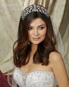 Regal Silver Plated Wedding Tiara Symphony Bridal 7707CR - Affordable Elegance Bridal -