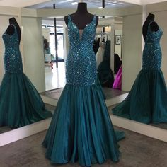 Prom Dresses,Evening Dress,v neck crystal beaded mermaid prom dresses 2017 sparkly gowns 2017,glitter prom gowns