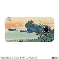 Shichiri beach in Sagami Province Mount Fuji Japanese Woodblock Print Samsung Galaxy S6 Cases