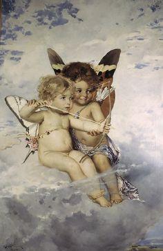 Cupids by Julius Kronberg, Nationalmuseum Sweden, CC BY-SA Cherub Tattoo, Fine Art Prints, Canvas Prints, Angel Aesthetic, Canvas Paper, Modern Artists, Cupid, Dance Art, Art Reproductions
