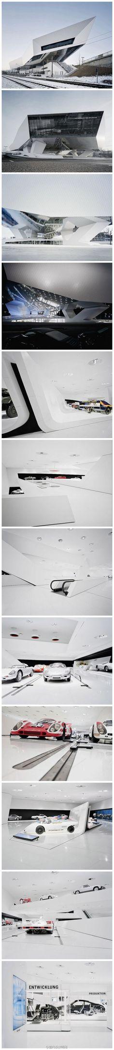 保时捷公司的发源地德国城市斯图加特(Stuttgart)是全世界著名的汽车城。来自澳大利亚的建筑事务所 Delugan Meissl Associated Architects 为保时捷公司设计了非常具有戏剧性的想象力的新的保时捷博物馆
