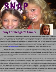 PRAYER REQUEST For Reagan's Family.  Reagan Elizabeth Lee was born on March 15, 2005 in Katy, Texas to Steven Allen Lee and Anne Marie Bowman. She was a third grader at Fielder Elementary in Katy, and was also a member of Xcel Cheerleading. Reagan was a member of Second Baptist Church, West Campus.  Reagan Elizabeth Lee passed away on Tuesday, February 25, 2014, in Katy, at the age of 8 years.