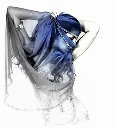 Gorgeous portrait for belly dancer - selected color and rest greyscale.