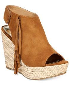 Report Neko Western Fringe Platform Wedge Sandals