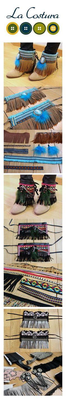 Crea tus propios cubrebotas Great craft for when the girls can wear boots again for fall Je vous aimerai toujours Estilo Hippie, Hippie Chic, Boho Chic, Bohemian, Deco Noel Nature, Botas Boho, Crea Cuir, Boho Boots, Fringe Boots