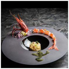 food presentation | Sashimi of red Mediterranean Prawn with Grapefruit, Amaranth Salad & Seaweed. More