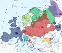 Europe Y-DNA. Principle puzzles – highlighted areas where the frequency of haplogroups represent more than a third of the gene pool (> 35%)