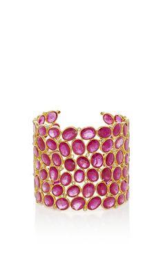 Ruby cuff by SANJAY KASLIWAL for Preorder on Moda Operandi Cuff Jewelry, Jewelry Art, Gold Jewelry, Cuff Bracelets, Jewelry Accessories, Jewellery, Ruby Bangles, Pakistani Jewelry, Bracelet Designs