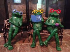 "Repainted garden frogs! The book was almost ""Walden Pond""."