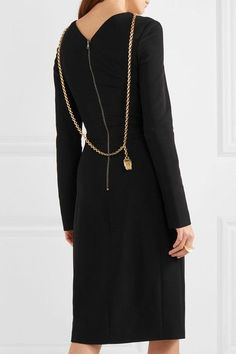 Black stretch-cady Zip fastening along back 96% rayon, 4% elastane Dry clean Made in Italy