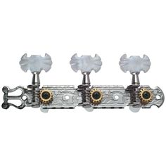 Golden Gate F-2101 Classical Guitar Tuners - 2 Planks (3+3) - Chrome. Set of two, lyre ended, 3-on-a-plank tuners. High ratio 14:1 gears ensure years of accurate intonation and tuning stability. Triple chrome plating provides a lustrous and durable finish. Butterfly style pearloid buttons are comfortable to hold and look great. To learn more, please see our Product Description below.