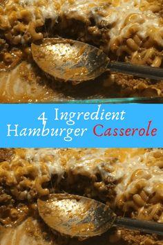 4 Ingredient Hamburger Casserole #4Ingredient #Hamburger #Casserole