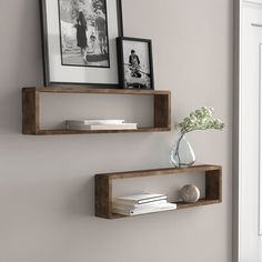Chic Hampden Stackable Long Box 2 Piece Wall Shelf Set (Set of by Three Posts Home Decor Furniture from top store Rustic Wall Shelves, Solid Wood Shelves, Shelves In Bedroom, Wood Floating Shelves, Kitchen Shelves, Display Shelves, Corner Wall Shelves, Wood Wall Shelf, Small Shelves