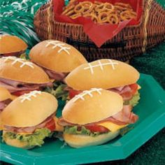 Pigskin sandwiches. What a cute tailgating idea.