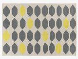 TRILLO GREYS Cotton Medium grey and yellow cotton flat weave rug 140 x 200cm - HabitatUK