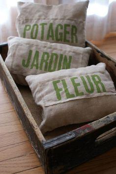 Rustic French farmhouse pillows