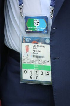84067b6fd Detail View of the accreditation of Didier Deschamps head coach   manager  of France during the