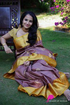 Radha Ragasiya - House of Ayana Kanjivaram Sarees Silk, Kanchipuram Saree, Saree Blouse Neck Designs, Saree Models, Weekly Outfits, South Indian Bride, Indian Beauty Saree, Green Blouse, Saree Dress