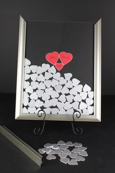 Wedding Guest Book Frame With Colored Matboard Drop In The Top Signable Hearts Pick Your Size And Colors Holds 70 210 Pr Weddings Des
