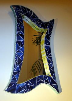 Stained Glass Mosaic Mirror Trimmed in Yellow Fits by ScottMosaics, $450.00