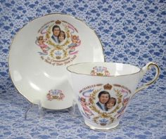 Teacup Birth Of Prince William Charles Diana Cup And Saucer 1982 Bone China - Antiques And Teacups - 1