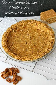 Pecan Cinnamon Graham Cracker Crust takes just a few minutes and a few simple ingredients! This crust can be cooked or left uncooked for your favorite pie! Pie Crust Recipes, Tart Recipes, Baking Recipes, Pie Crusts, Baking Ideas, Just Desserts, Delicious Desserts, Pecan Desserts, Pecan Pies