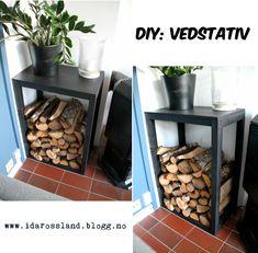 DIY woodrack! Place your wood and make it a decorative piece in the livingroom. Be creative! Vedstativ som dekorasjon i stuen.