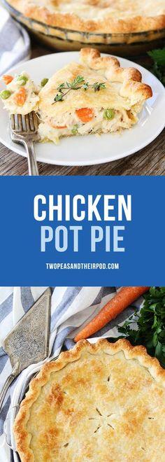 The BEST Chicken Pot Pie Recipe. This easy homemade chicken pot pie is a family favorite recipe. Use rotisserie chicken or leftover turkey for an easy weeknight dinner. #chicken #potpie #dinner #chickenrecipe