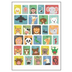 Skøn, farverig ABC poster fra Studio Circus med alfabetet og små tegninger af dyr. En fin plakat til udsmykning på børneværelset. Bestil på Lirumlarumleg.dk