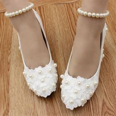 White lace pearls Wedding shoes Bridal flats low high heels pumps size 4-8.5