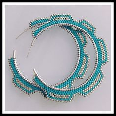 Turquoise and silver Cog hoops Sterling silve