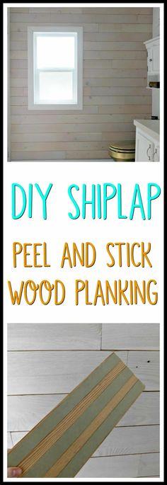 How to Install a Wood Plank Wall the Easy Way- DIY Shiplap #diyshiplap #diywoodplank #woodplankwalls #peelandstickwoodplank #farmhousebathroom #farmhouse #fixerupperstyle #joannagaines #farmhousechic #farmhousestyle #plankwalls #shiplap #peelandstickshiplap #stikwood #woodplank