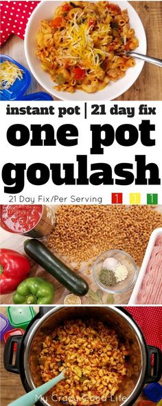 This healthier version of goulash is a family favorite–we make it about once a week! With whole wheat noodles and extra veggies, it's 21 Day Fix friendly, too! Instant Pot Goulash | One Pot Goulash