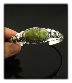 Silver and Military Green Turquoise Bracelet by John Hartman