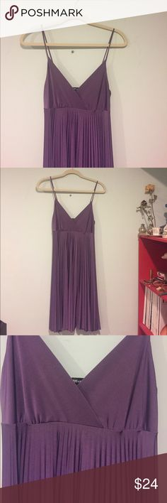 Purple silky spaghetti strap dress This dress is super cute! Beautiful shade of purple with demons pleats. I love the way this dress feels 😻 never been worn ! mandee Dresses